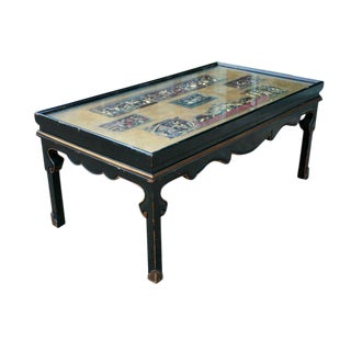 Chinese Screen Cocktail Table with Lacquer Base
