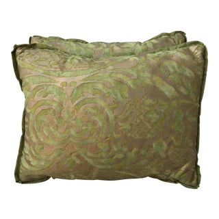 Green & Gold Orsini Fortuny Pillows - A Pair