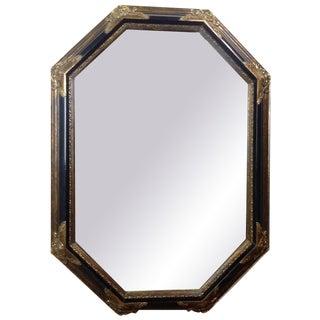 Vintage Hollywood Regency Black & Gilded Mirror