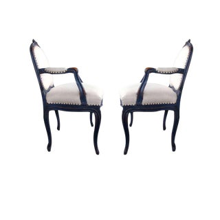 Graceful Pair of French Rococo Blue-Gray Painted Armchairs with Rocaille Carving