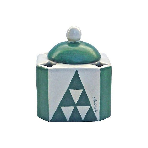 Image of Vintage Art Deco Adnet Ceramic Inkwell