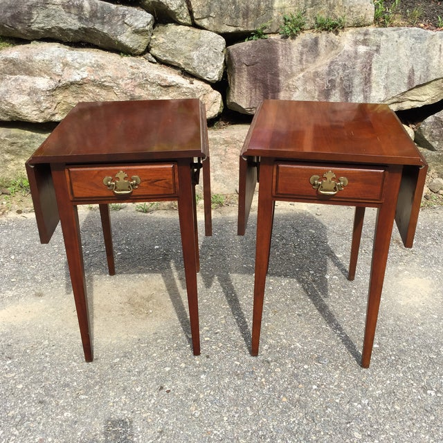Cherry Drop Leaf End Tables - A Pair - Image 9 of 11