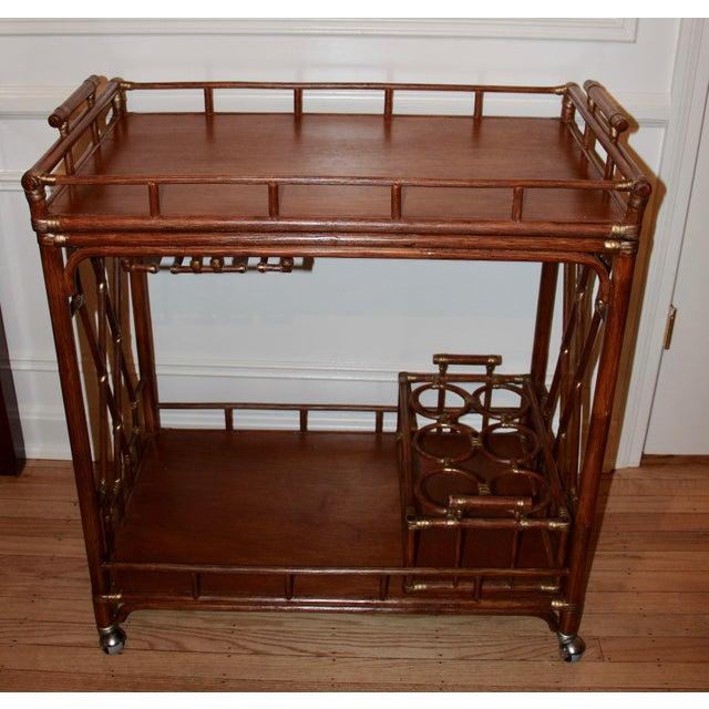 Golden Rattan Bar Cart - Image 2 of 10