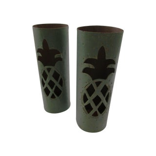 Haitian Pineapple Tin Luminaries - A Pair