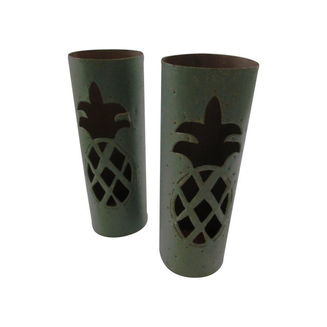 Haitian Pineapple Tin Luminaries - A Pair - Image 1 of 5