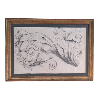 19th Century French Charcoal Acanthus Ornament