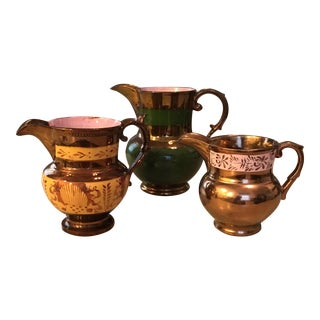 Antique Lusterware Pitchers - Set of 3