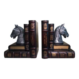 Equestrian and Faux Book Bookends - A Pair