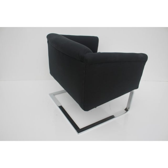 Italian Vintage Flat Bar Chrome Accent Chair - Image 8 of 11