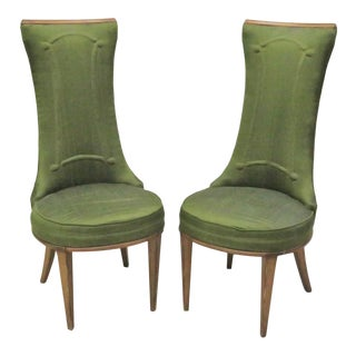 Deco High Back Side Chairs - A Pair