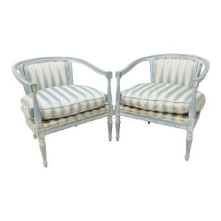 Louis XV Style Distressed Blue Painted Armchairs - a Pair