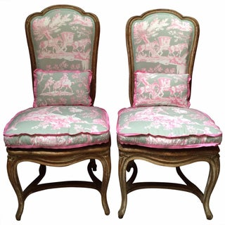 French Chairs in Manuel Canvas Toile - A Pair