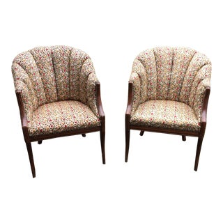 Art Deco Style Channel Back Arm Chairs - Pair