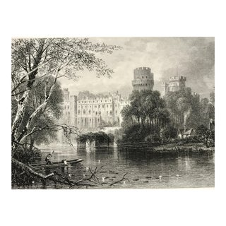 Antique Engraving of Warwick Castle, England