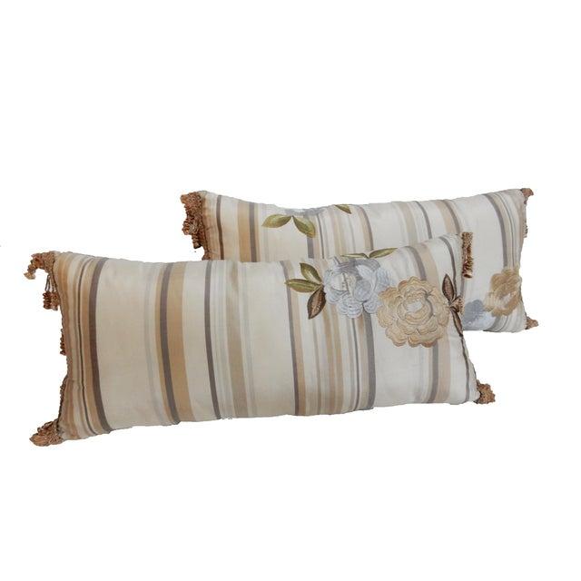 Custom Made Silk Lumbar Pillows - A Pair - Image 6 of 9