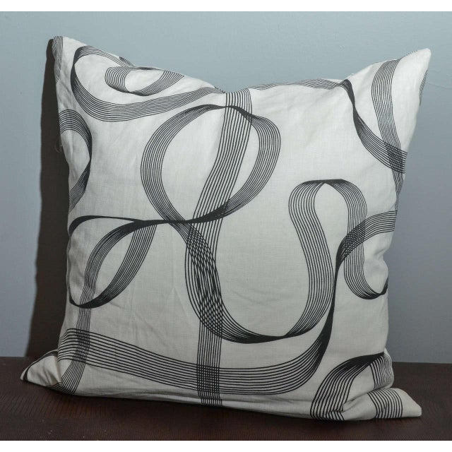 Modern Gray Ribbon Patterned Pillow - Image 3 of 3