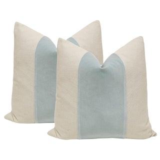 "20"" Spa Blue Velvet Panel & Linen Pillows - A Pair"