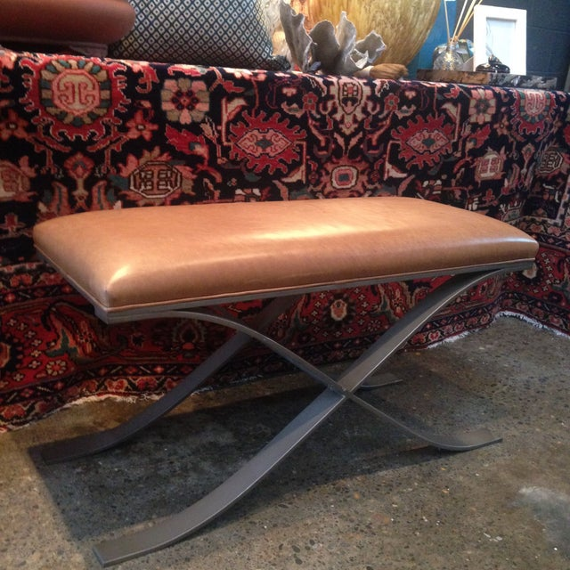 Clyde Leather X-Based Bench - Image 3 of 4