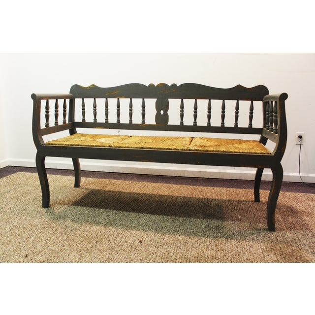 Painted Country French Triple Rush Seat Bench - Image 2 of 11