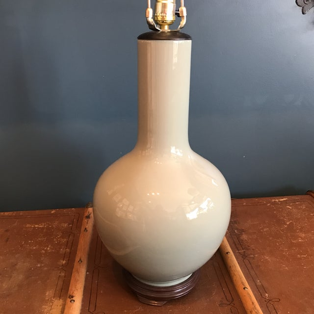 Vintage Asian Celadon Ceramic Lamp - Image 5 of 8