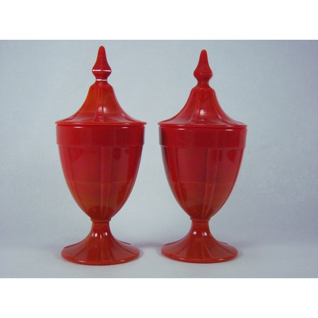 1920s Red Art Glass Covered Candy Containers - Image 4 of 8
