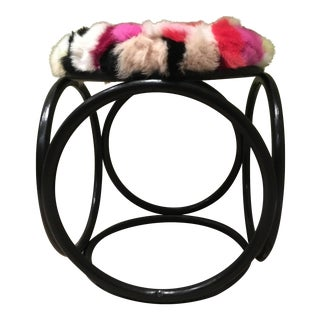 Rabbit Fur Thonet Bentwood Stool