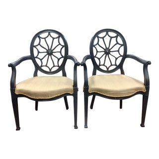 Ebonised Wheel Back Chairs - a Pair