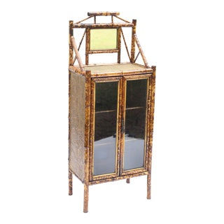 Antique English Scorched Chinoiserie Bamboo Cabinet