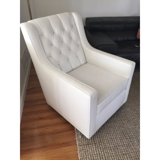 White Faux Leather Swivel Rocking Chair - Image 2 of 7
