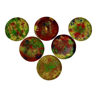 Vintage Copper Enamel Coasters, Set of 6