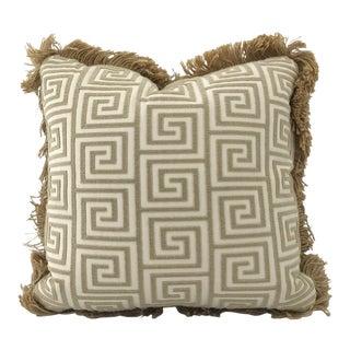 Greek Key Jute Welt Down Pillow