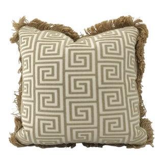 Greek Key Jute Welt Down Pillow