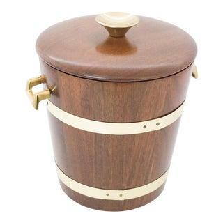 Vermillion Walnut and Brass Ice Bucket