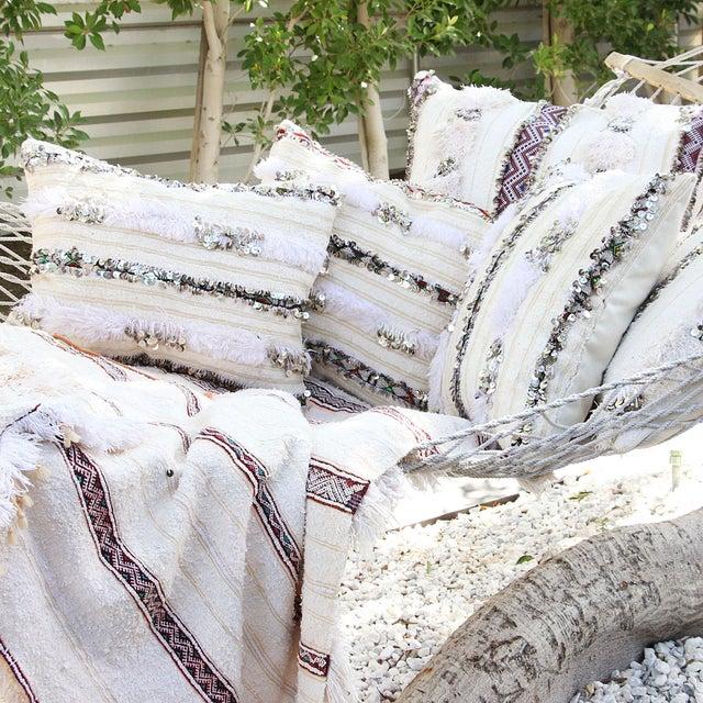 Image of Moroccan Handira Wedding Blanket Pillow VI