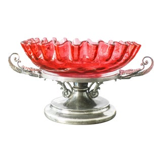Antique Victorian Bride's Basket Cranberry Glass Bowl Centerpiece