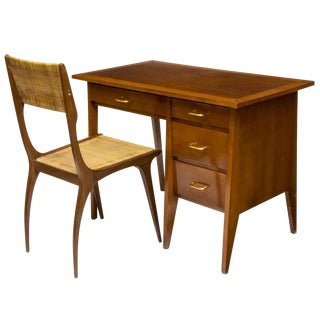 Mid Century French Writing Desk & Chair