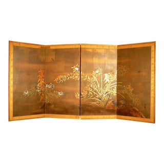 Vintage 4 Panel Hand Painted Japanese Byobu Table Screen