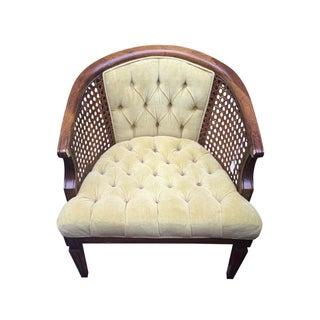 Hollywood Regency Gold Velvet Caned Barrel Chair