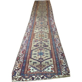 Camel Hair Ground Persian Bidjar Runner - 3′6″ × 17′