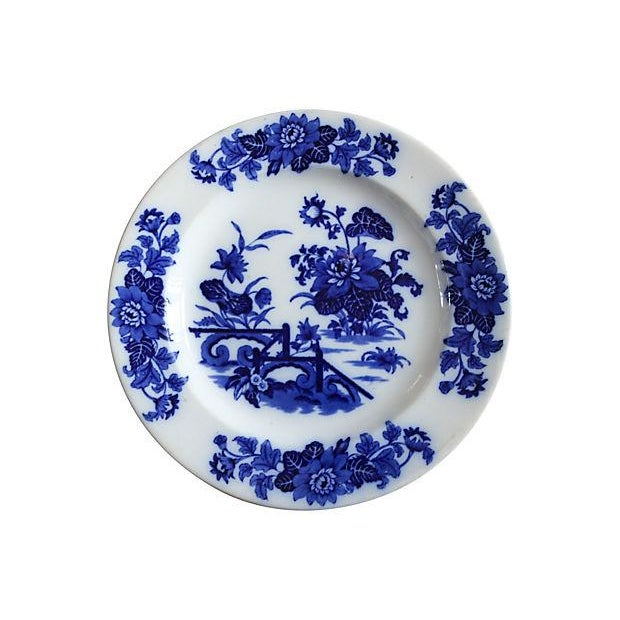 Antique Flow Blue Chinoiserie Wall Plate - Image 1 of 3