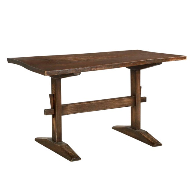 Arts & Crafts Solid Oak Trestle Writing Table - Image 1 of 10