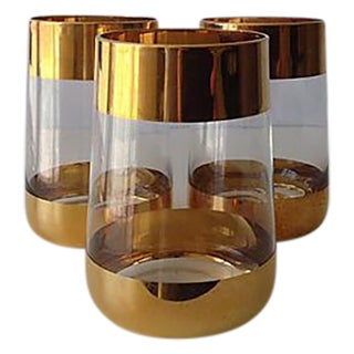 Italian 24k Gold Banded Glasses - Set of 3
