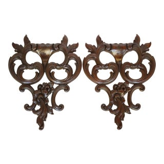 Mid-Century Gold Syrocco Wall Ornaments- A Pair