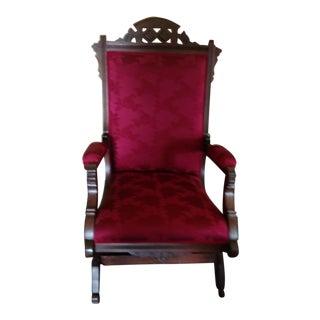 Ruby Red Upholstered Wood Carved Rocker
