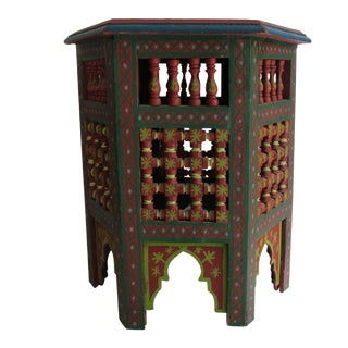 Moroccan Green & Red Carved Wood Side Table