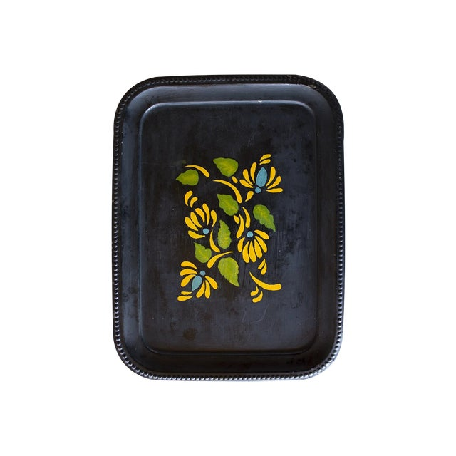 1970s Yellow Flowers Tray - Image 1 of 3