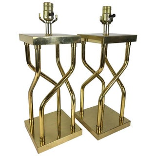 Tubular Brass Twist Lamps - a Pair