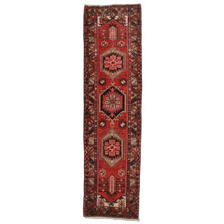 "Antique Persian Gharajeh Wool Runner - 3' x 11'2"""