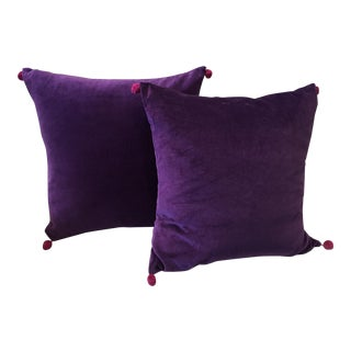 Purple & Pink Velvet Pom Pillows - A Pair