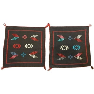 Moroccan Hand-Loomed Wool Black Pillow Cases - A Pair